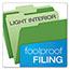 Pendaflex® Colored File Folders, 1/3 Cut Top Tab, Letter, Green/Light Green, 100/Box Thumbnail 5