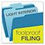 Pendaflex® Colored File Folders, 1/3 Cut Top Tab, Letter, Blue/Light Blue, 100/Box Thumbnail 5