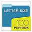 Pendaflex® Colored File Folders, 1/3 Cut Top Tab, Letter, Blue/Light Blue, 100/Box Thumbnail 3