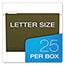 "Pendaflex® Reinforced 2"" Extra Capacity Hanging Folders, 1/5 Tab, Letter, Green, 25/Box Thumbnail 3"