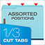 "Pendaflex® Pressboard Folders, 2 Fasteners, 1"" Expansion, 1/3 Cut, Letter, Blue, 25/Box Thumbnail 3"