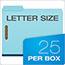 "Pendaflex® Pressboard Folders, 2 Fasteners, 1"" Expansion, 1/3 Cut, Letter, Blue, 25/Box Thumbnail 2"