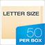 Pendaflex® End Tab Expansion Folders, 2 Fasteners, Straight Cut Tab, Letter, Manila, 50/Box Thumbnail 2