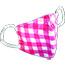 Pongs® Children's Cotton Face Mask, Washable, Pink Plaid Thumbnail 1