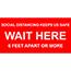 "W.B. Mason Co. Vinyl Floor Adhesive Signage, ""Wait Here"", 18"" x 9"" Thumbnail 1"