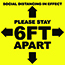 "W.B. Mason Co. Floor Adhesive, ""Please Stay 6 Feet Apart"", Yellow and Black, 12''x12'', EA Thumbnail 1"