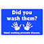 "W.B. Mason Co. Wall/Door Graphic, ""Did You Wash Them?"", Blue and White, EA Thumbnail 1"
