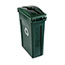 Rubbermaid® Commercial Slim Jim Single Stream Recycling Top for Slim Jim Containers, Dark Green Thumbnail 2