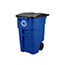 Rubbermaid® Commercial Brute Recycling Rollout Container, Square, 50gal, Blue Thumbnail 5