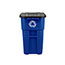 Rubbermaid® Commercial Brute Recycling Rollout Container, Square, 50gal, Blue Thumbnail 4