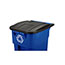 Rubbermaid® Commercial Brute Recycling Rollout Container, Square, 50gal, Blue Thumbnail 3
