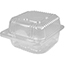 """Durable Packaging Duralock Container, Hinged Lid, Plastic, Clear, 5"""" x 5"""" x 2 1/2"""", 500/CT Thumbnail 1"""